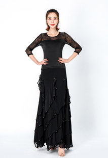 Trajes de dança de salão Black Milk Silk Cascading Ruffles Tiered Saia Longa Mulheres vestido de dança Halloween