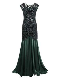 Зеленые платья-заслонки Блестки плиссированные 1920-х годов Великий Гэтсби Костюм Полу Sheer Винтажные костюмы платье Хэллоуин
