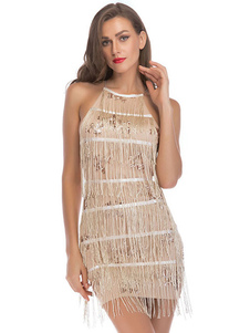 Vestidos años 20 Color champaña Charleston disfraz de poliéster Disfraces Retro de flapper para vuelta al cole para mujer con vestido DISFRACES