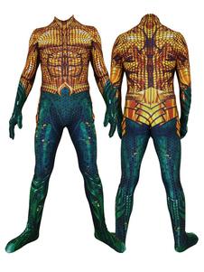 Costumi da uomo supereroi Aquaman Golden Movie Superheros Body Body fortnite Halloween
