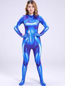 Carnaval Traje de Cosplay de Metroid Samus Aran Milk Silk Blue Cosplay Jumpsuit Halloween