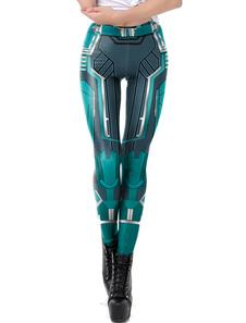 Leggings Mulheres Super-Heróis Azul Verde Capitão Marvel Calças Justas Halloween