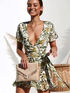 Vestido de verão curto V Neck Impresso Sash Ruffle Mulheres Beach Dress
