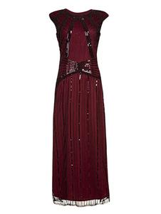 Женские платья-хлопушки Красный блесток 1920-х годов Большой костюм Гэтсби Ретро-костюм без рукавов Хэллоуин