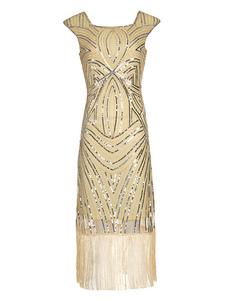 Vestidos años 20 color albaricoque  de poliéster Charleston disfraz Disfraces Retro con borlas para baile fibra de poliéster estilo femenino
