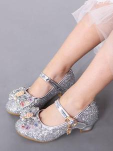 Свадебные Цветочницы Обувь Серебряный Круглый Носок Лук Мэри Джейн Обувь Блеск Партия Обувь Для Детей