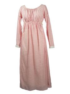 Vestido de Regência Rosa Mulheres Império Corte Maxi Vestido de Renda de Algodão 1790s Traje Vestido Halloween