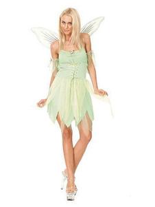 Tinker Bell Trajes de Halloween Gênio Asa Traje Com Asa Verde Pastel Lace Up Vestido de Algodão Irregular