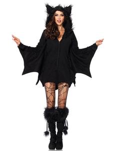 Trajes de festas peludo preto do macacão do bastão da mulher dos trajes de Dia das Bruxas Halloween