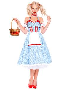 Costume Carnevale Costume da ragazza di birra Vichy Plaid Bow 4 pezzi Baby Blue Oktoberfest Costumes  Costume Carnevale