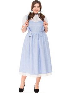 عيد الرعبالمرأة هالوين ازياء الطفل الأزرق خادمة الطائر تنورة القطن الرباط تريم الإجازات ازياء