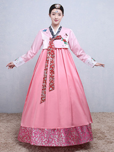 Mulher coreana trajes floral impressão bordado arco brocade vestido rosa traje hanbok conjunto Halloween