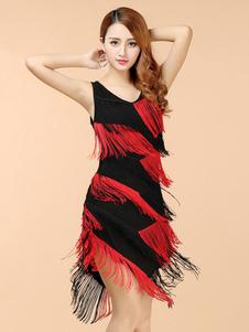Латинские танцевальные платья Черный V-образный вырез Двухцветный бахромой Танцевальный костюм Хэллоуин
