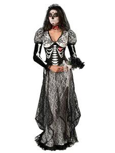 Disfraz Carnaval Disfraces de Halloween Negros Cadáver Novia Esqueleto Imprimir Encaje 3 Piezas Disfraces de Vacaciones Carnaval
