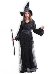 عيد الرعبأسود هالوين ازياء المرأة الساحرة اللباس تول الإجازات