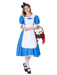 Traje de empregada doméstica das mulheres guarnição de renda azul dois tons 3 peças conjunto de traje de halloween