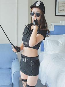 Женский костюм-полицейский с металлической пряжкой и заклепками Хэллоуин