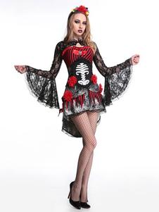 Costume Carnevale Nero Costumi di Halloween Donna 2020 Fiore Scheletro Abito in Pizzo Feste Costumi