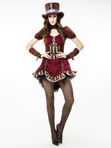 Disfraz Carnaval Burgundy Steampunk Costume Lace Up Metallic Buckle Ropa Vintage Para Mujeres Halloween Carnaval