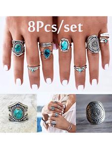 Кольца Boho Серебряные металлические гламурные кольца для женских украшений