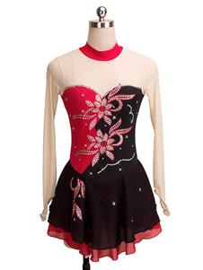 Trajes de dança de Spandex de Lycra Lycra Floral vermelho vestido de patinação Beading Halloween