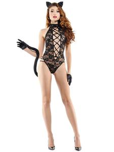عيد الرعبالمرأة القطة حلي الرباط Strappy عارية الذراعين تيدي أسود مجموعة