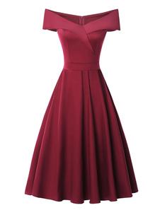 Vestido de Festa Vintage Fora do Ombro Mangas Curtas 1950s Mulheres Swing Dress
