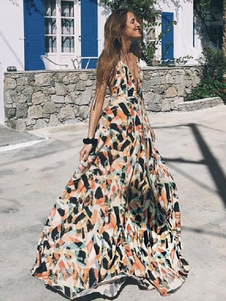 Maxi Summer Dress Mulheres Sem Costas Sem Manga Geométrica Estampado Longo Vestido