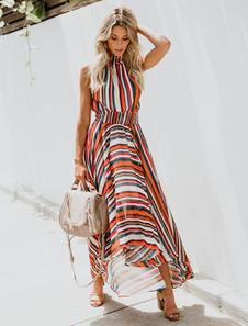 Chiffon Maxi Vestidos Rainbow Stripe Alta Collar mangas Mulheres Vestido Longo