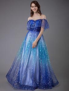 Vestido de baile 2020 constelação vestido de tule a linha v pescoço lace up manga curta até o chão vestidos de festa formal