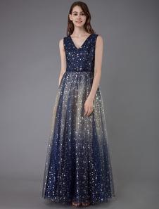 Vestido de baile 2020 constelação vestido de tule a linha v pescoço sem mangas até o chão arcos faixa formal do baile vestidos de festa
