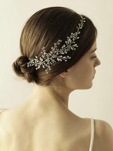Cintas para la cabeza de plata Rhinestones diadema para la novia