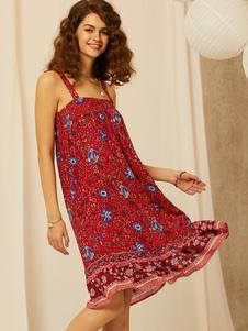 Vestido de verano con estampado floral, vestido de playa rojo hasta la rodilla para mujeres