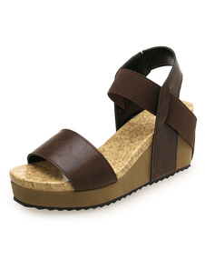 Sandálias de cunha marrom sandálias de plataforma aberta de plataforma de dedo do pé de mulheres