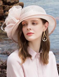 Женская винтажная шапка с розовым пером и тюлем Хэллоуин