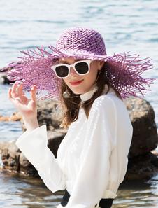 Disfraz Carnaval Sombrero de paja de ala ancha para mujer Sombrero para el sol Halloween Carnaval