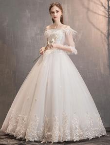 فساتين زفاف الأميرة تول العاج قبالة الكتف الرباط زين الطابق طول ثوب الزفاف