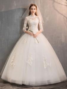 تول فساتين الزفاف العاج الوهم العنق نصف كم الطابق طول فستان زفاف الأميرة