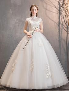 فساتين زفاف الأميرة العاج الوهم العنق مطرز الرباط زين الطابق طول ثوب الزفاف
