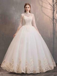 تول فساتين الزفاف الأميرة ثوب الزفاف الوهم طوق نصف كم الطابق طول فستان الزفاف