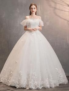 تول فساتين الزفاف العاج قبالة الكتف الرباط زين الأميرة ثوب الزفاف