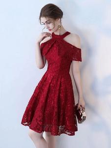 Кружевное платье для коктейля 2020 Холтер с коротким рукавом до колен Социальные платья для выпускного вечера