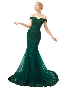 Vestido de noche 2020 Sirena de abalorios hechos a mano de lujo fuera del hombro Vestidos de cena formales de manga corta con tren