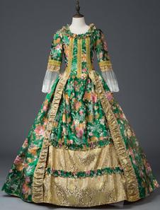 Disfraz Carnaval Traje retro de encaje verde Estampado floral Vestido rococó Mujeres Marie Disfraz Antonieta Halloween Carnaval