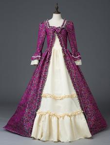 Disfraz Carnaval Mujeres trajes retro arco impresión floral estilo victoriano mate satinado conjunto Marie Antonieta vestido de traje Halloween Carnaval