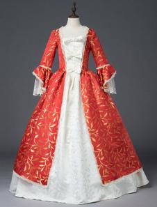 Disfraz Carnaval Vestidos retro rojo mujer estampado floral mate satén marie Antonieta traje conjunto vestido de época victoriana mascarada vestido de bola Halloween Carnaval