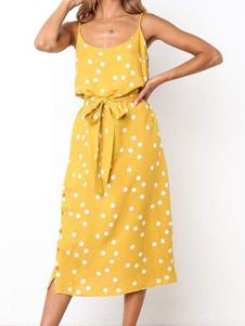 Vestido de verão amarelo Polka Dot Sash Mulheres Summer Slip Dress