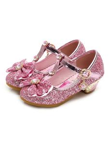 Детские праздничные туфли с блестками и круглым носком T-образной пряжкой Подробнее Flower Girl Shoes