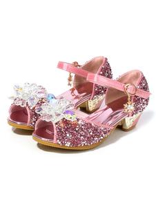 Блестящие туфли для вечеринки Pink Peep Toe Стразы Свадебные туфли для девочек-цветочниц