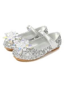 Блестящие туфли для вечеринок Серебряные круглые носки со стразами Плоские туфли для девочек-цветочниц